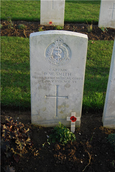 Mr Shaws great great grandads gravestone Douglas Wilbur Smith surgeon in the Royal Army Medical Corps died on the Somme