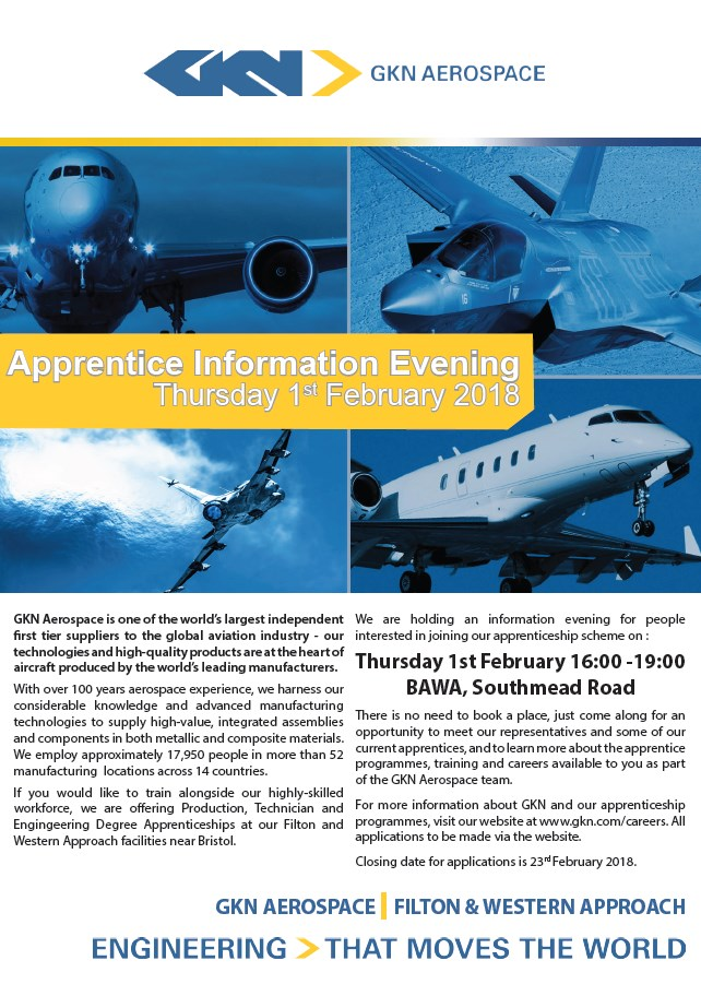 GKN Aerospace Apprenticeship Evening Flyer